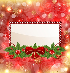 Christmas elegant card with mistletoe and bow vector image vector image