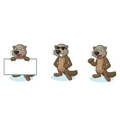 Dark Brown Sea Otter Mascot happy vector image
