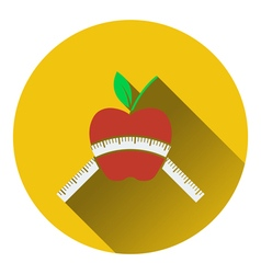 Icon of Apple with measure tape vector image