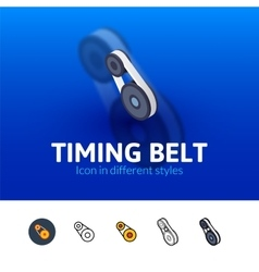 Timing belt icon in different style vector image