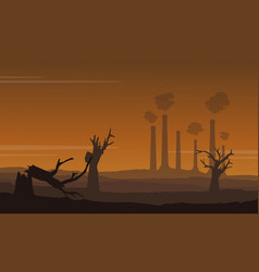 damaged forest with many industry construction vector image vector image