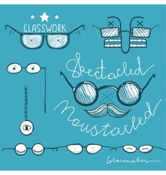 Glasses Hand Drawn Labeles Collection vector image vector image