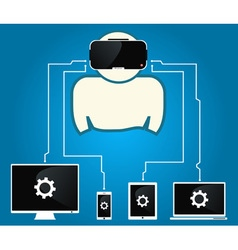 Man with glasses of virtual reality are connected vector