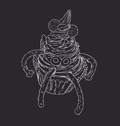 monster cupcake spooky for halloween sketch vector image