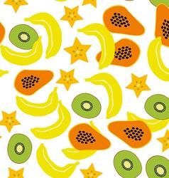 Seamless pattern with banana papaya kiwi carambola vector image vector image
