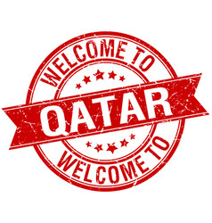 Welcome to qatar red round ribbon stamp vector