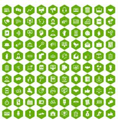 100 dialog icons hexagon green vector