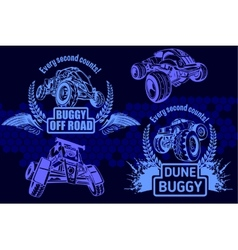 Dune buggy and monster truck - badge vector image