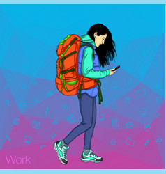 girl holding a mobile phone social networks in vector image vector image