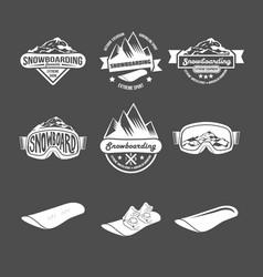 set of snowboarding badges vector image vector image