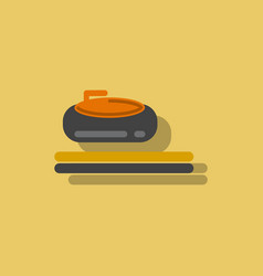 stone for curling sport game in sticker style vector image vector image