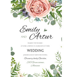Wedding invitation invite save the date floral vector
