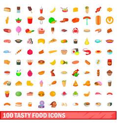 100 tasty food icons set cartoon style vector image