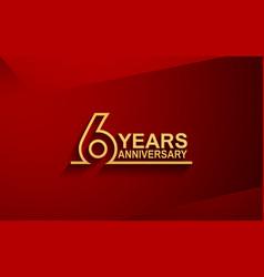 6 years anniversary line style design golden vector