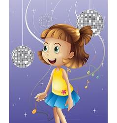 A girl looking at the disco balls vector