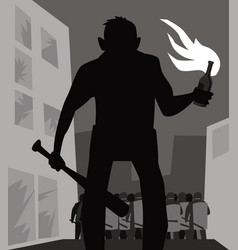 a protester with molotov cocktail vector image