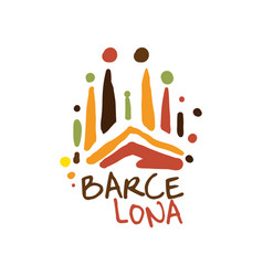 barcelona tourism logo template hand drawn vector image