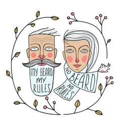 Bearded Man and No Beard Woman Portraits vector image