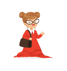 Beautiful girl wearing dult oversized red dress vector