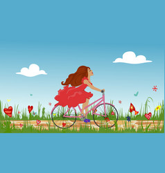 Beautiful young girl riding bike on spring vector