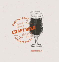 beer logo template hand drawn beer glass vector image