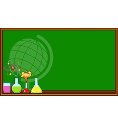 Blackboard and science beakers vector
