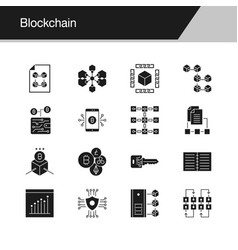 blockchain icons design for presentation graphic vector image