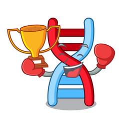Boxing winner dna molecule mascot cartoon vector