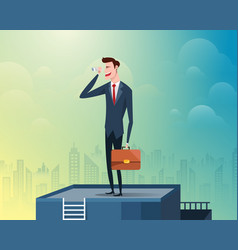 Businessman standing at the top of the building vector