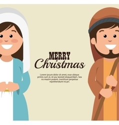 Card merry christmas mary joseph cartoon vector