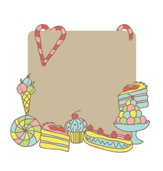 card with sweets template vector image