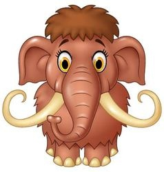 Cartoon cute mammoth isolated on white background vector image vector image