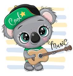 cartoon koala in a cap is playing guitar vector image