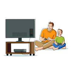 Cartoon of father and son playing video game vector
