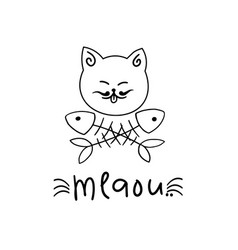 cats logo with fish bones vector image