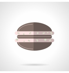 Chocolate macaroon flat color design icon vector