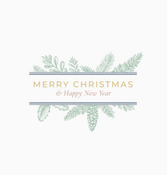 Christmas abstract botanical label with rectangle vector