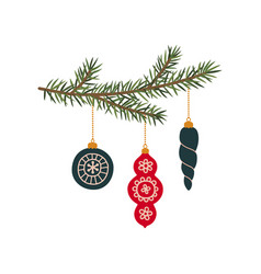 christmas tree branches with new year toys vector image