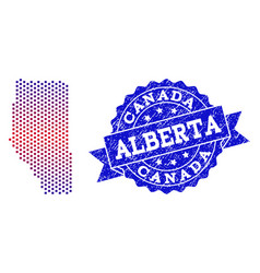 composition of gradiented dotted map of alberta vector image