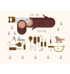 Concept woodcarving tools vector image