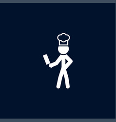cook with knife icon simple food element vector image