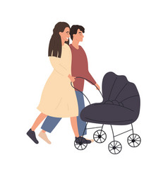 couple man and woman walking with stroller vector image