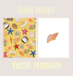 cover design with sea shells pattern vector image