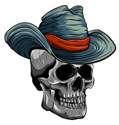 cowboy skull with hat vector image