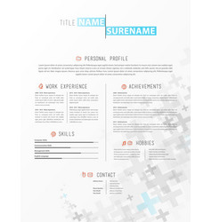 creative simple cv template with grey plus signs vector image - Simple Cv Template