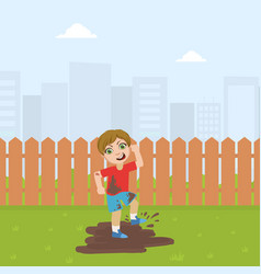 Cute bully boy jumping in dirt bad behavior vector