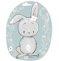cute cartoon hare vector image