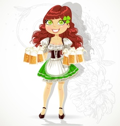 Cute girl with glasses of beer vector image