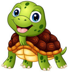 cute turtle cartoon smiling vector image