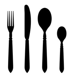 cutlery set - fork knife table spoon tea spoon vector image